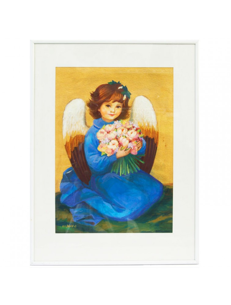 Anioł z bukietem kwiatów