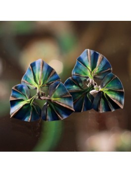 Kolczyki z niebieskimi listkami