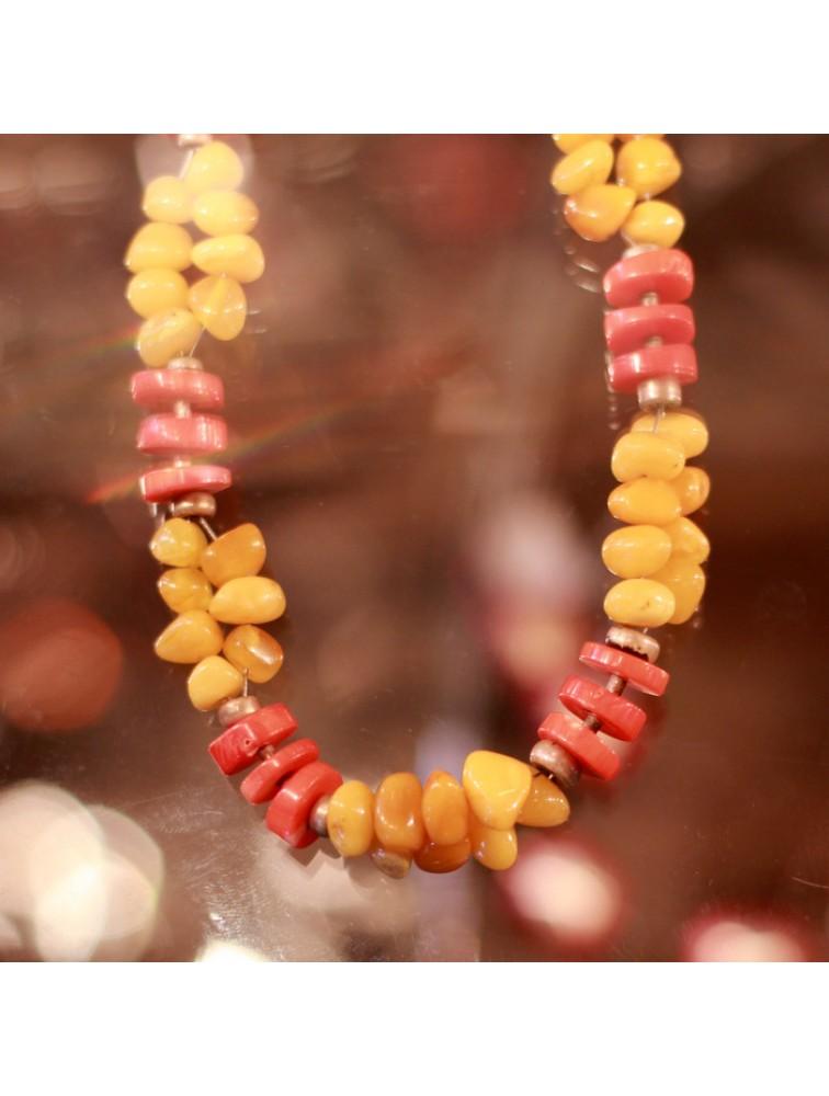 Naszyjnik z bursztynem i koralem