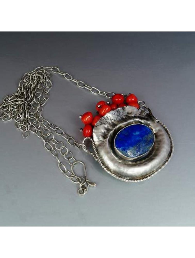Naszyjnik - Lapis lazuli & perły