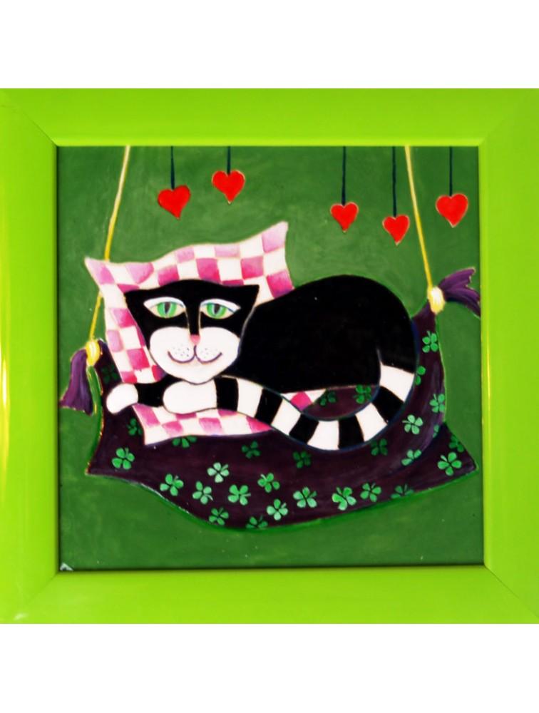 Danuta Rożnowska - Borys - Kot - obraz ceramiczny