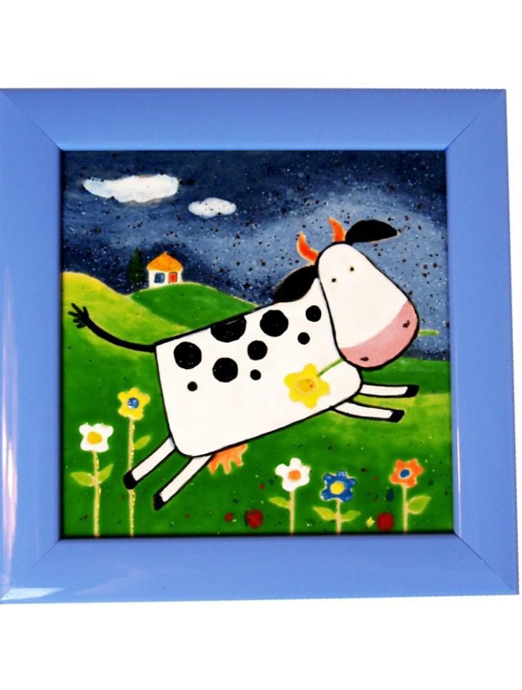 Danuta Rożnowska - Borys - Krowa na łące - obraz ceramiczny