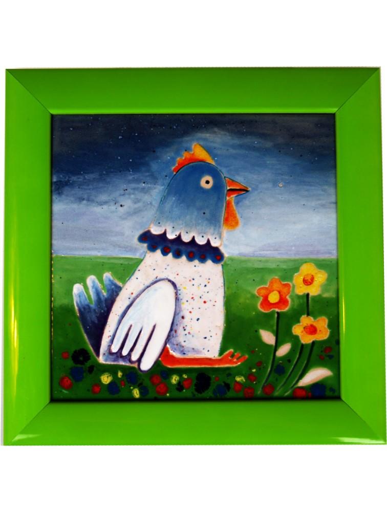 Danuta Rożnowska - Borys - Kura na trawie - obraz ceramiczny