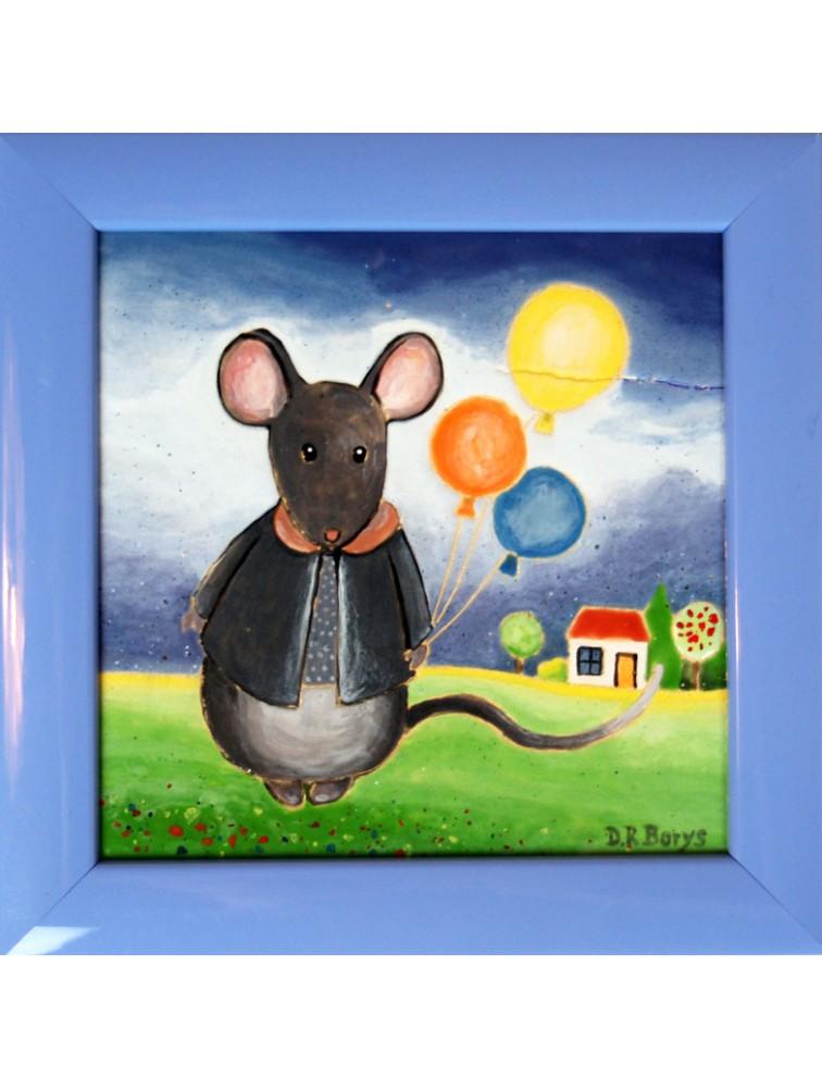 Danuta Rożnowska - Borys - Myszka z balonami - obraz ceramiczny