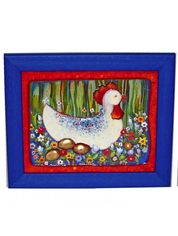 Kura znosząca złote jaja - obraz ceramiczny