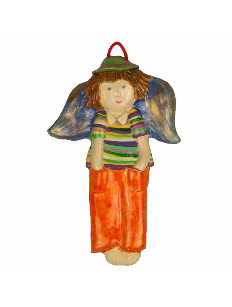 Zawieszka ceramiczna - Chłopczyk w pasiastej koszulce