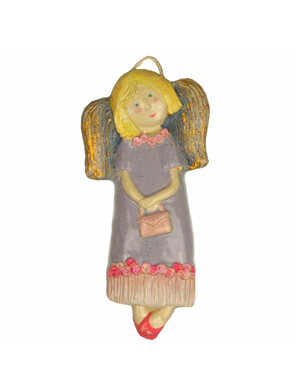Zawieszka ceramiczna - Dziewczynka w lawendowej sukience