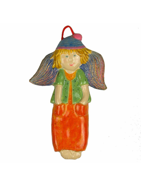 Zawieszka ceramiczna - Chłopiec w pomarańczowych spodniach