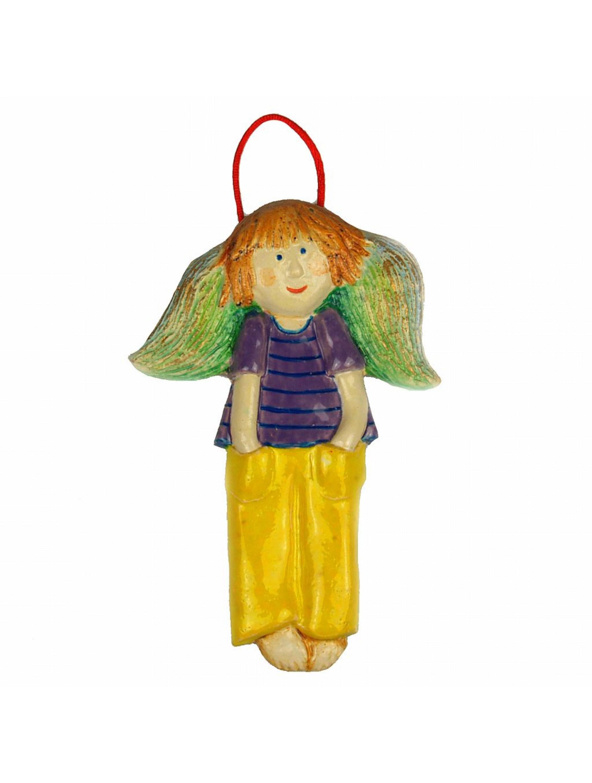 Zawieszka ceramiczna - Chłopiec w żółtych spodniach