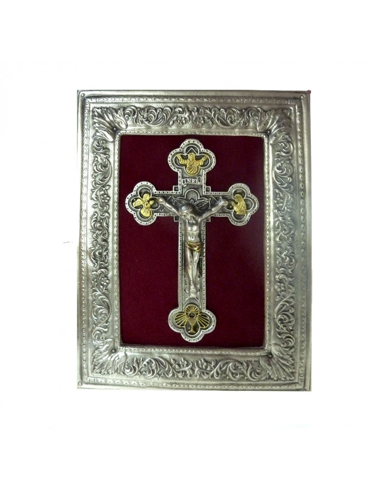 Ikona posrebrzana duża - Jezus Chrystus na krzyżu