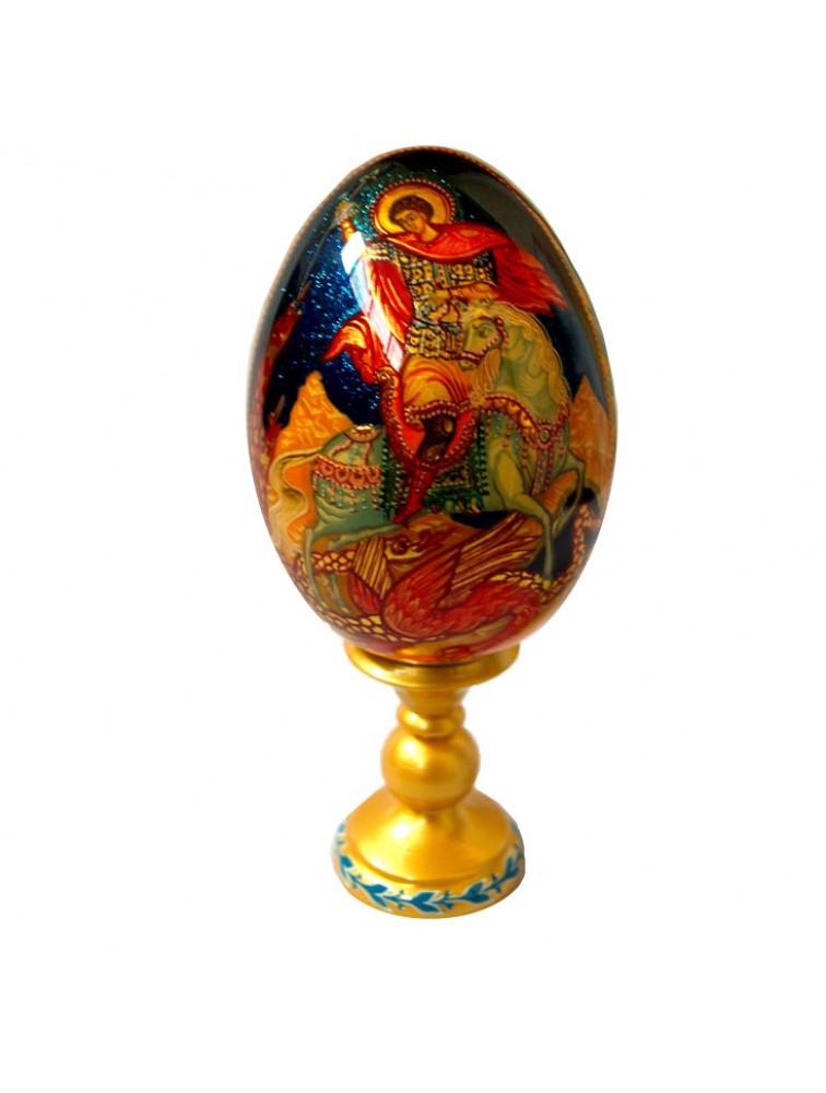 """Oleg Potocki  - """"Święty Jerzy """" jajko drewniane"""