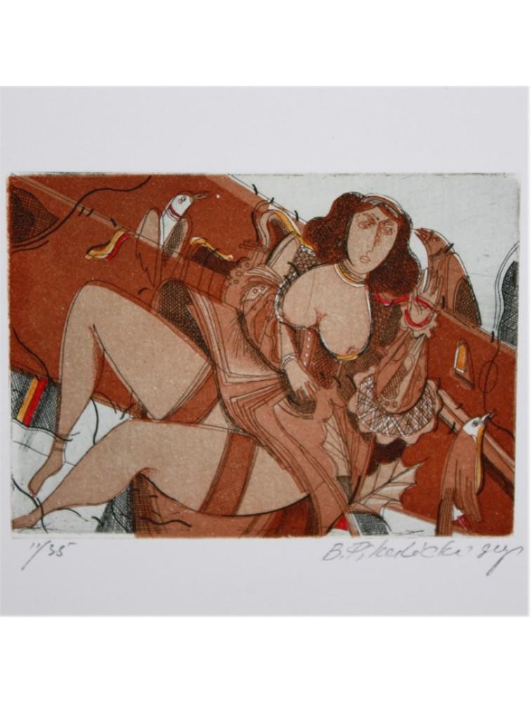 Grafika leżąca kobieta - B. Pikulicki