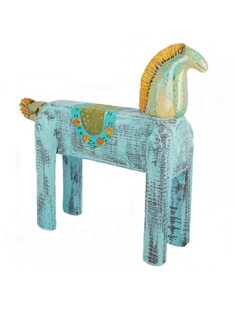 Rzeźba - niebieski koń