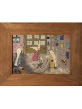 """""""Dzieciństwo II"""" - obraz na szkle malowany"""