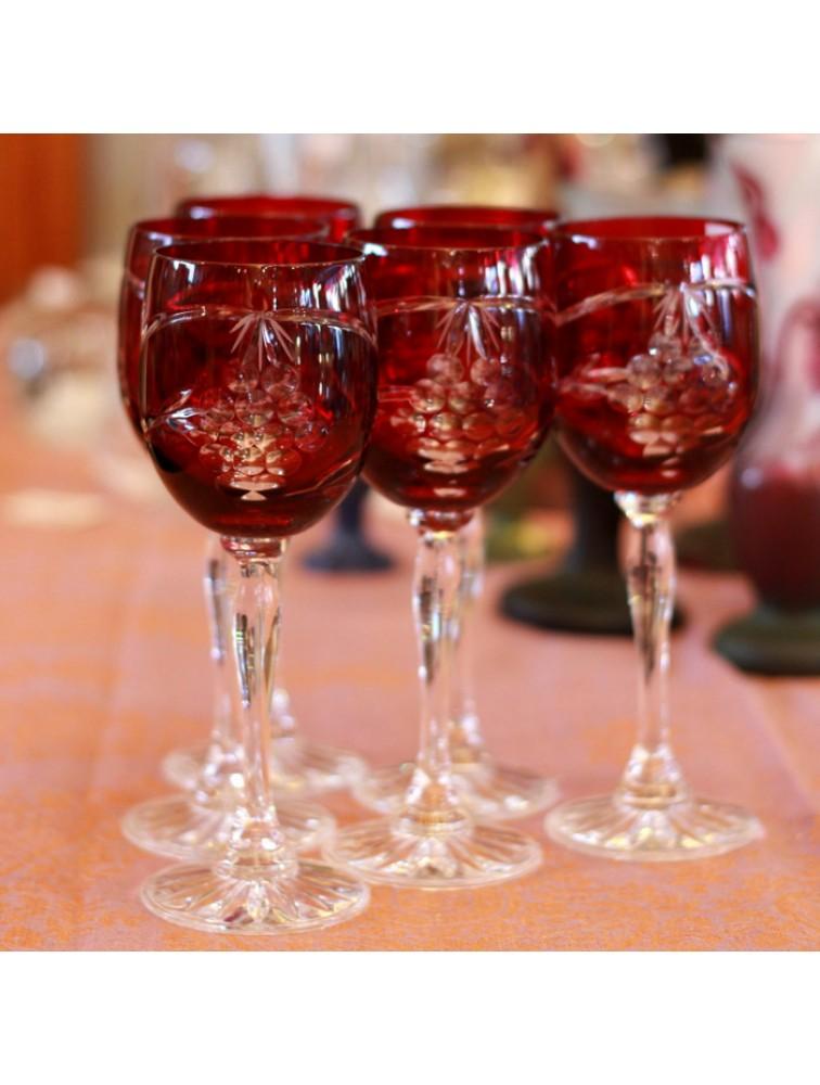 Kieliszki kryształowe - zestaw rubinowy