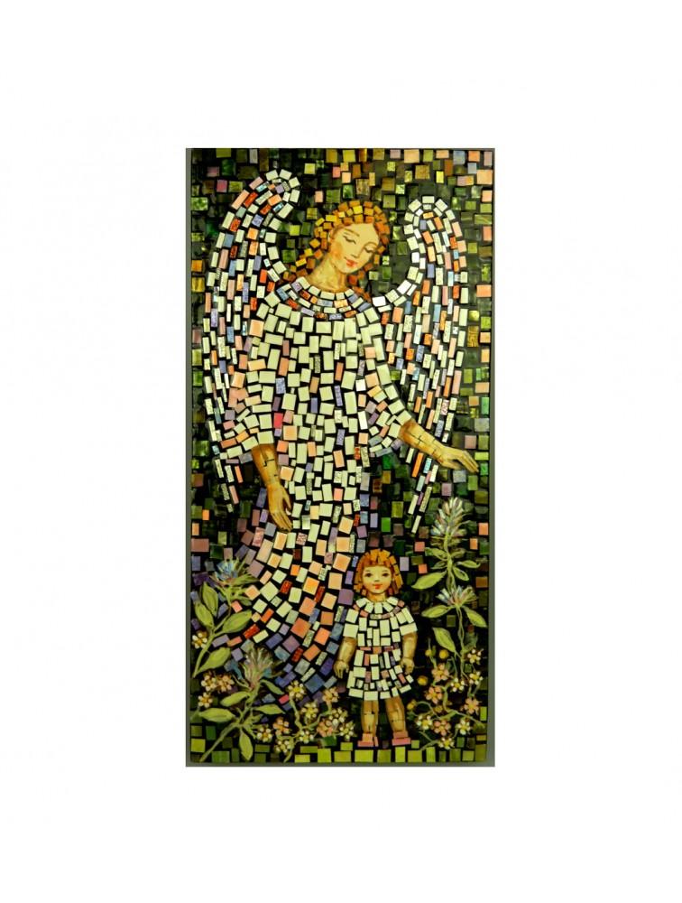 Anioł Stróż z dziewczynką - mozaika