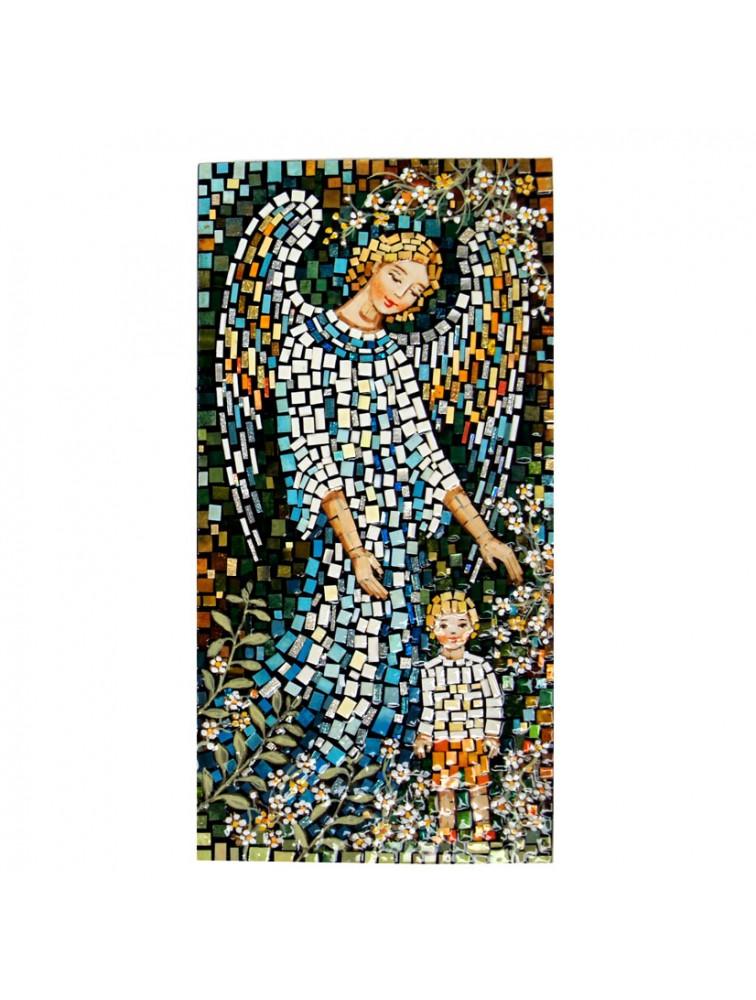 Anioł Stróż z chłopcem - mozaika