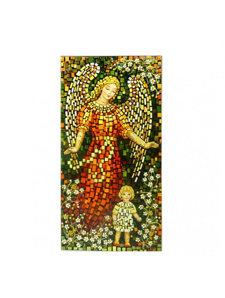 Anioł Stróż z dziewczynka - mozaika