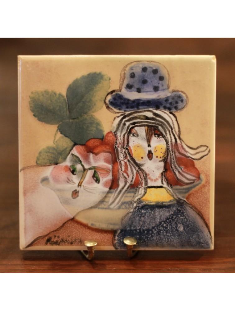 Dama z kotkiem- ceramiczny kafelek