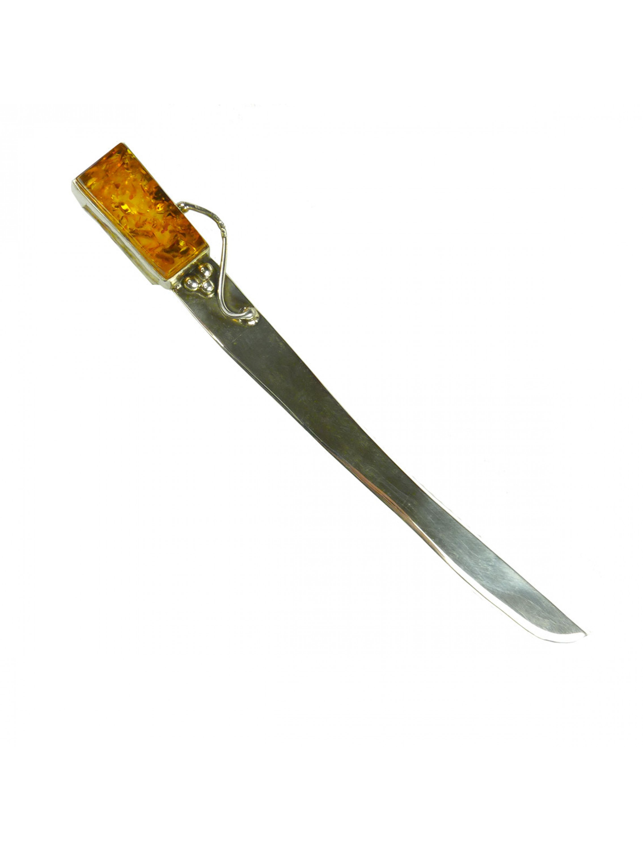 Srebrny nóż do papieru z bursztynem.