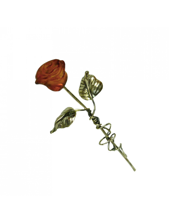 Bursztynowa róża na srebrnej łodydze