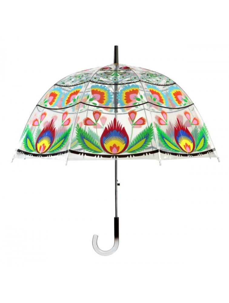 Przezroczysty parasol z motywem ludowym