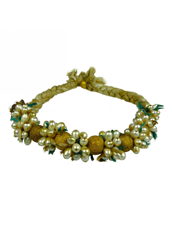 Naszyjnik z jedwabiem i perłami